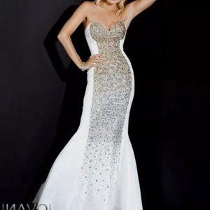 White Jovani homecoming dress mermaid prom